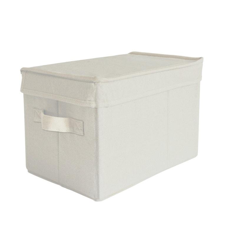 en soldes 9f70d af831 Boîte de rangement avec couvercle tissu S beige H.20 x l.30 x P.20 cm