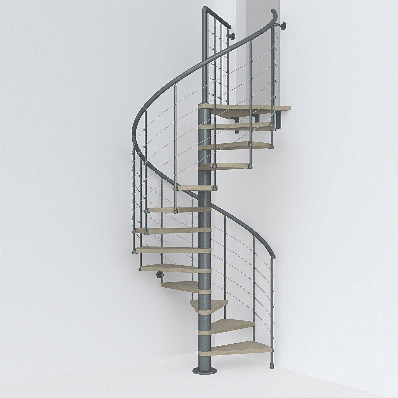 Barriere Escalier En Colimaçon escalier colimaçon rond révers. acier gris ant. ring 12 mar. orme clair,  ⌀138 cm