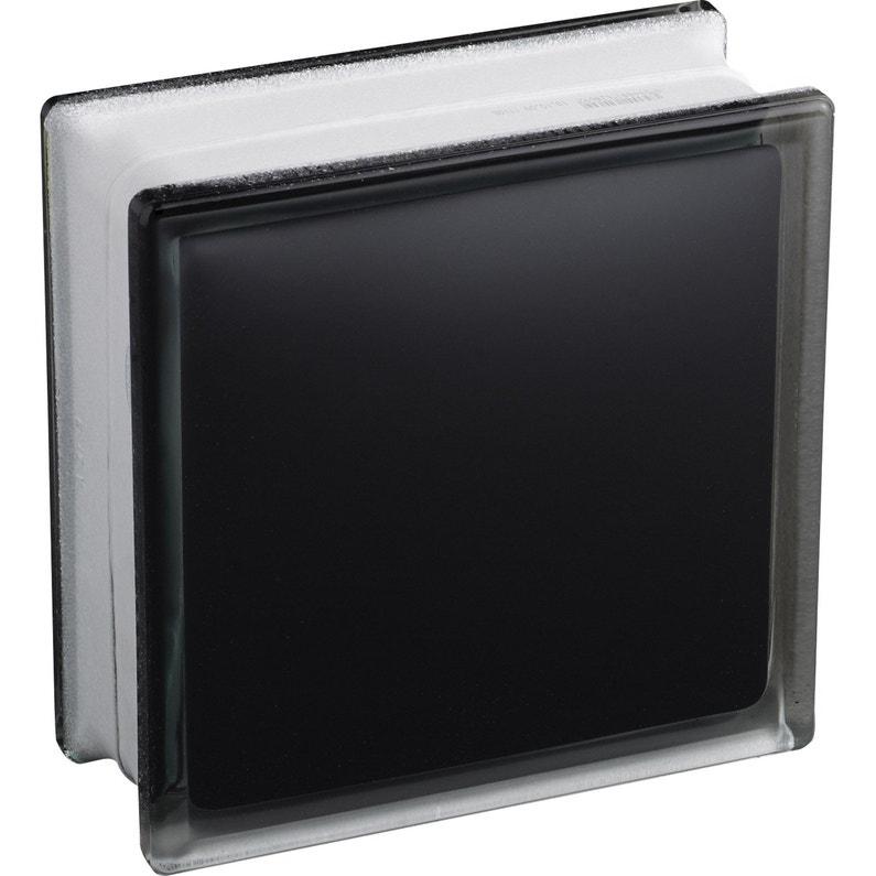 Brique De Verre Noir Lisse Brillant