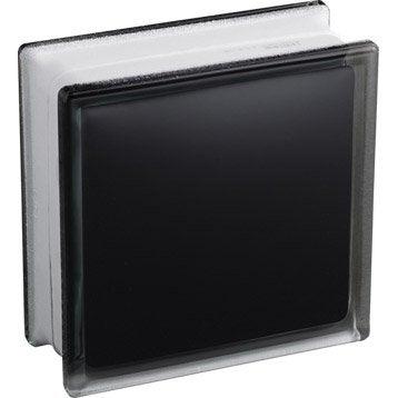 Brique de verre, noir lisse brillant