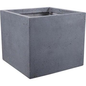 Pot fibre L.44 x l.44 x H.38 cm gris