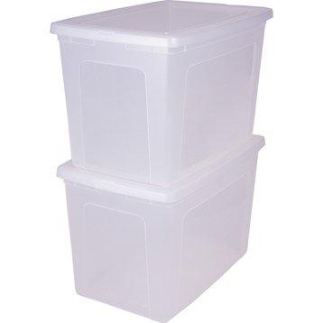 Lot de 2 boites Modular clear box plastique , l.39.5 x P.59.5 x H.37.8 cm