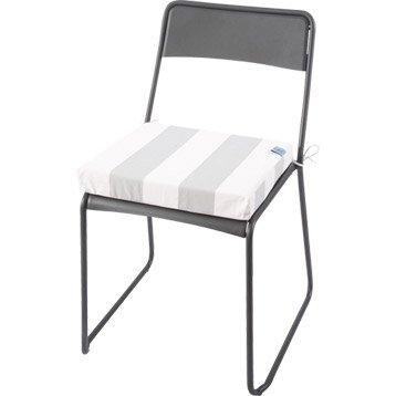 coussin d 39 assise de chaise ou de fauteuil jardin prive rayure blanc vert. Black Bedroom Furniture Sets. Home Design Ideas