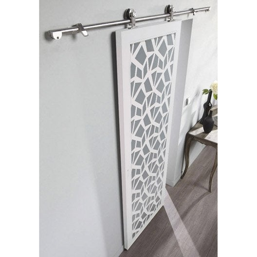 Ensemble porte coulissante crash verre et mdf rail techno for Porte galandage en verre