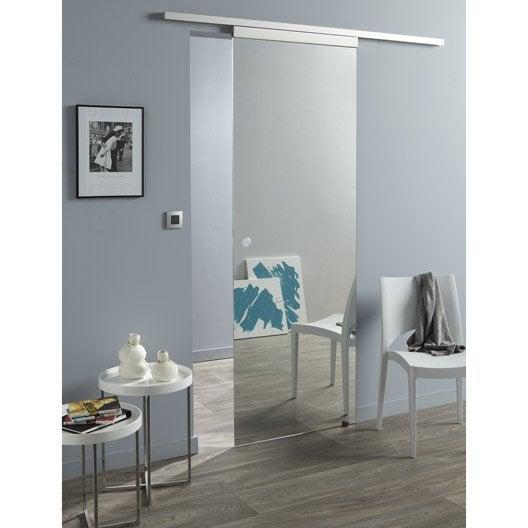Ensemble porte coulissante denver verre givr avec le rail concept 2 aluminiu - Leroy merlin porte coulissante miroir ...