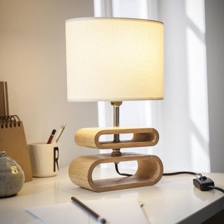 Une lampe toute en rondeur blanche et bois