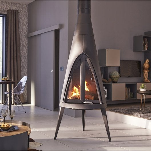 po le bois invicta pow wow anthracite 6152 44 14 kw leroy merlin. Black Bedroom Furniture Sets. Home Design Ideas