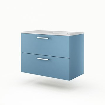 Meuble vasque l.90 x H.64 x P.48 cm, bleu, SENSEA Neo line