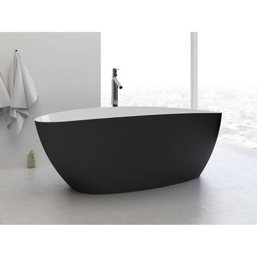 Baignoire lot ovale cm blanc et noir stori leroy merlin - Baignoire ilot noire ...