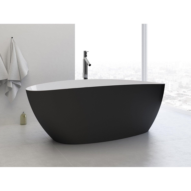 Baignoire Beton De Synthese baignoire îlot ovale l.156x l.71 cm blanc et noir stori