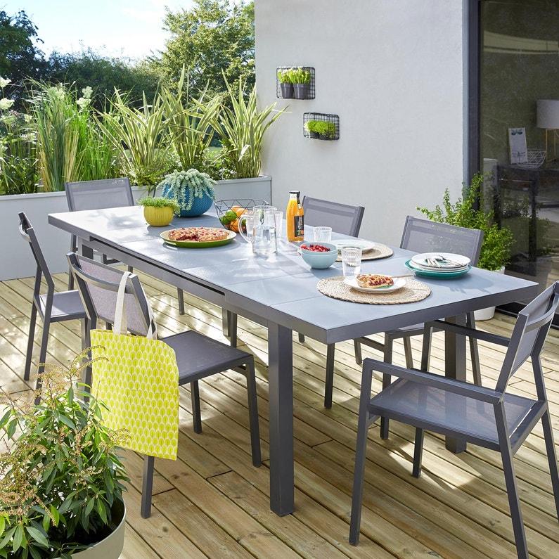 Table de jardin de repas NATERIAL Niagara rectangulaire gris de 6 à 8  personnes