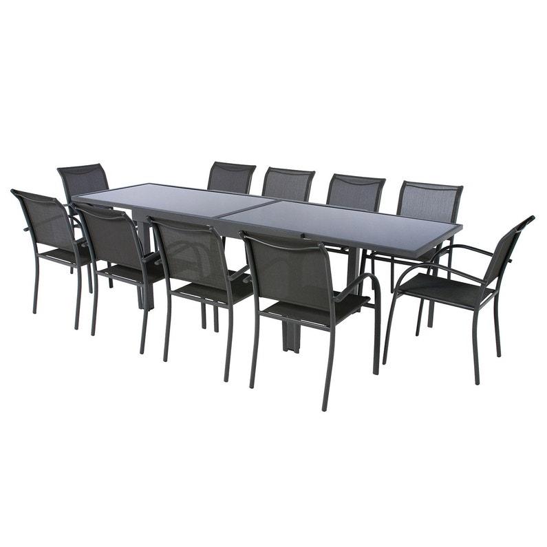 Table de jardin de repas HESPERIDE Piazza rectangulaire gris 12 personnes