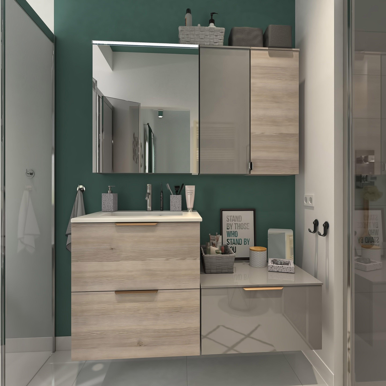 Meuble simple vasque l.18 x H.18 x P.18 cm, effet chêne grisé, Neo line