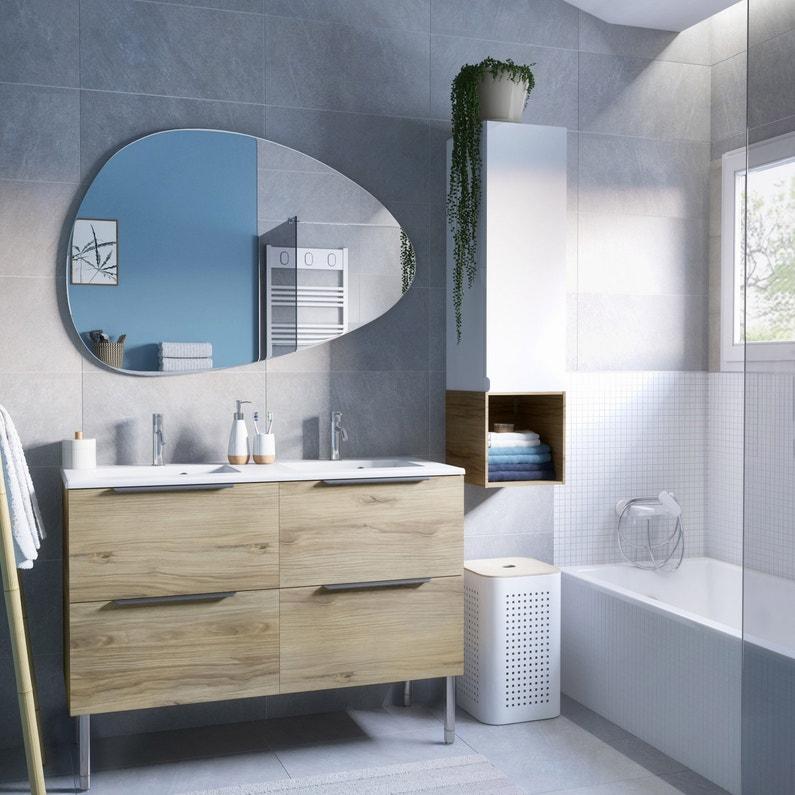Meuble double vasque l.120 x H.64 x P.48 cm, effet chêne miel, Neo line
