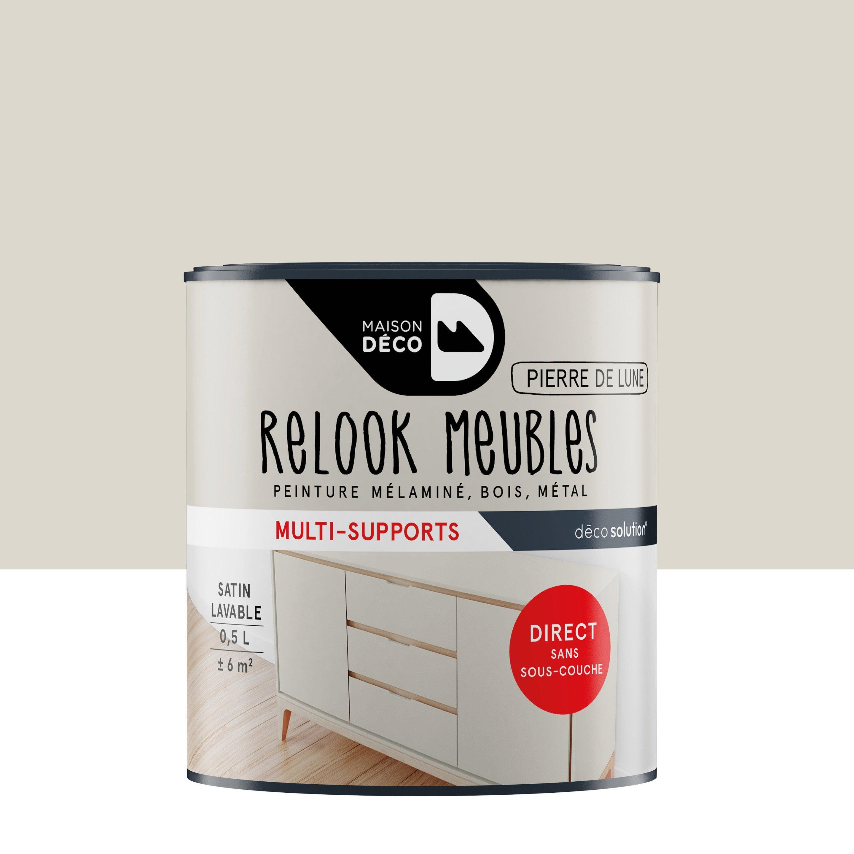 Peinture Pour Meuble En Bois Sans Decapage peinture pour meuble, objet et porte, maison deco, relook meuble, gris 0,5 l