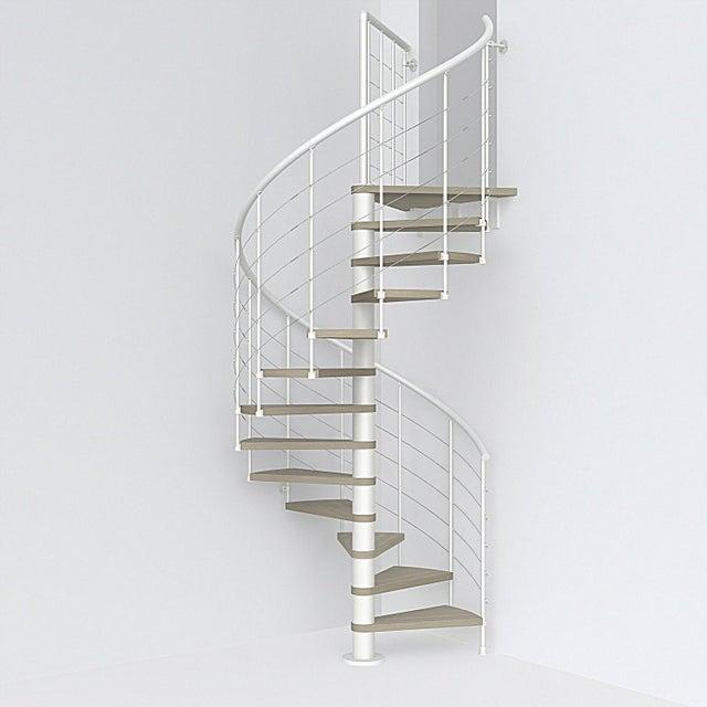 Escalier Colimaçon Rond Rév Acier Blanc Ring Tube 12 Mar Orme Clair 118 Cm