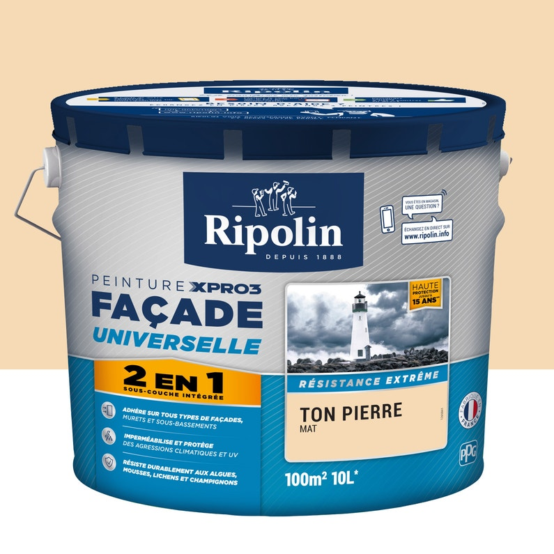 Peinture Façade 2en1 Xpro3 Ripolin Ton Pierre 10 L