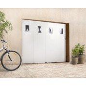 Porte de garage coulissante avec hublot PRIMO, PVC blanc, 200 x 240cm