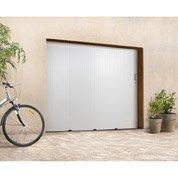 Porte de garage coulissante sans hublot PRIMO, PVC blanc, 200 x 240cm