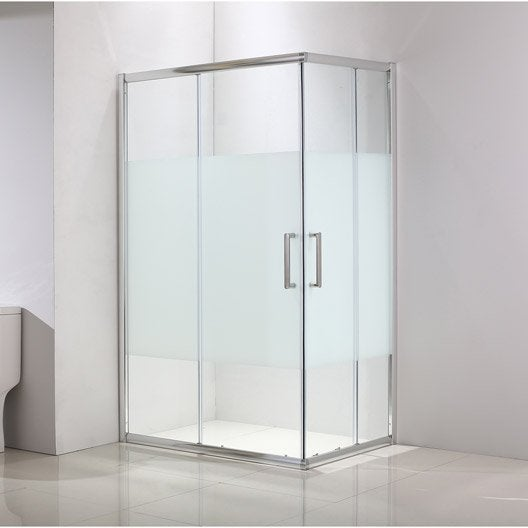 Porte de douche coulissante angle rectangle x cm chrom quad l - Porte coulissante douche 120 ...