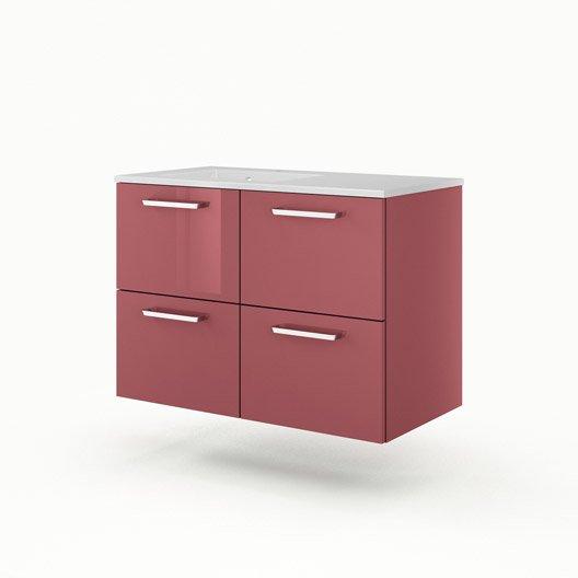 meuble vasque x x cm rouge sensea neo line leroy merlin. Black Bedroom Furniture Sets. Home Design Ideas