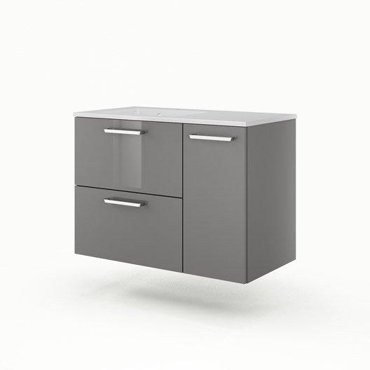 meuble sous vasque x x cm gris sensea neo line leroy merlin. Black Bedroom Furniture Sets. Home Design Ideas