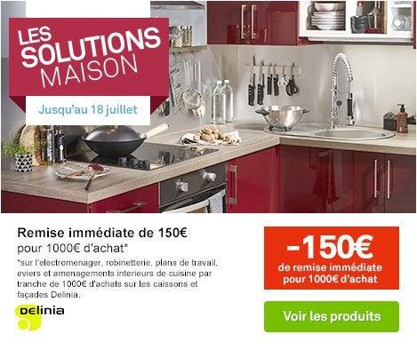 OP LES SOLUTIONS MAISON Meuble de cuisine rouge DELINIA Griotte