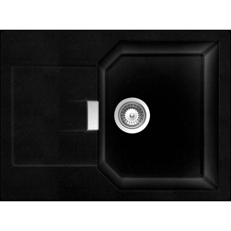 Exceptional Evier à Encastrer Quartz Et Résine Noir Nano, 1 Bac Avec égouttoir