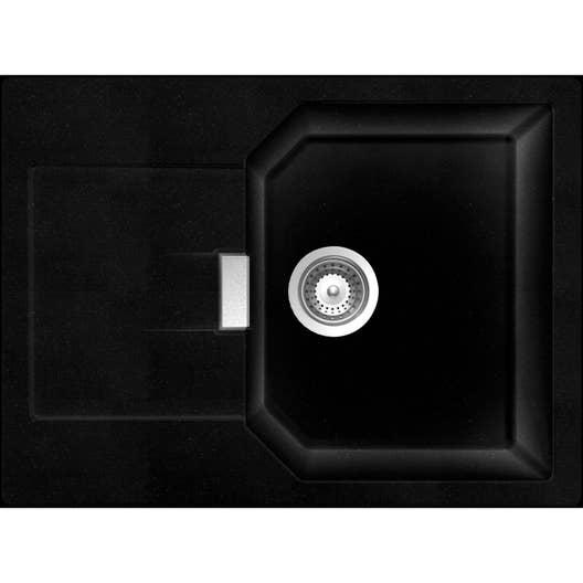 evier encastrer quartz et r sine noir nano 1 bac avec gouttoir leroy merlin. Black Bedroom Furniture Sets. Home Design Ideas