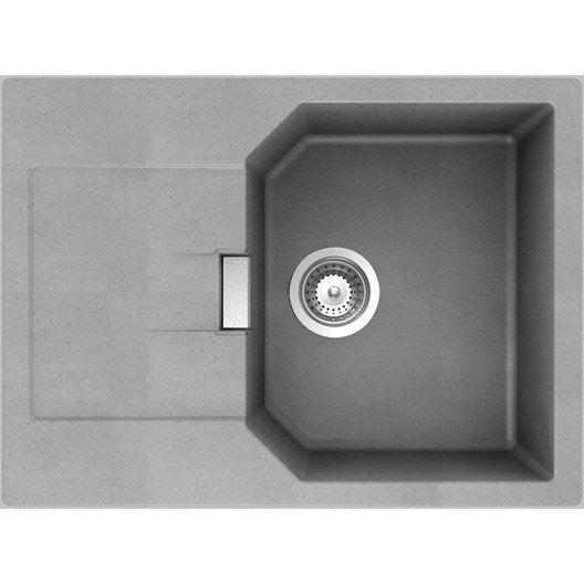 Evier encastrer quartz et r sine gris m tallis nano 1 for Evier gris resine