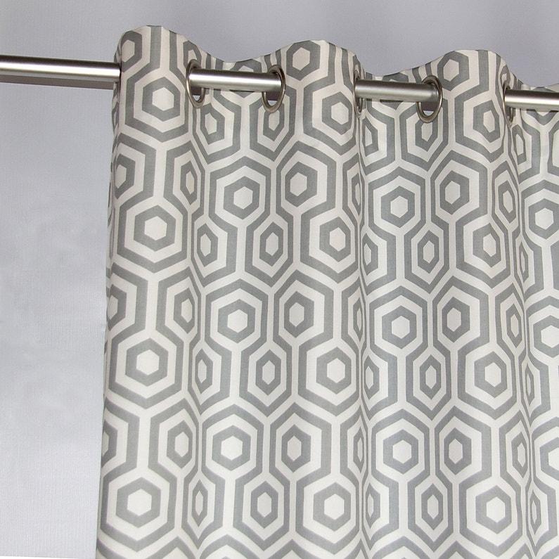 Rideau tamisant, Octogone, gris / blanc, l.135 x H.250 cm | Leroy Merlin
