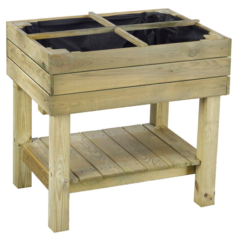potager sur pieds carre sur pied pin pyrus naturel x x cm leroy merlin. Black Bedroom Furniture Sets. Home Design Ideas