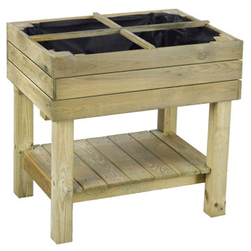 Carr potager et table de rempotage bois acier au meilleur prix leroy merlin for Carre de jardin en bois sur pied