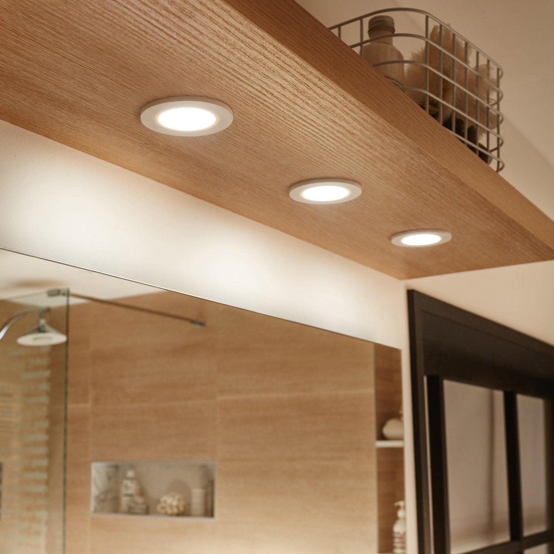 Kit 3 spots à encastrer salle de bains Bazao fixe INSPIRE LED intégrée blanc