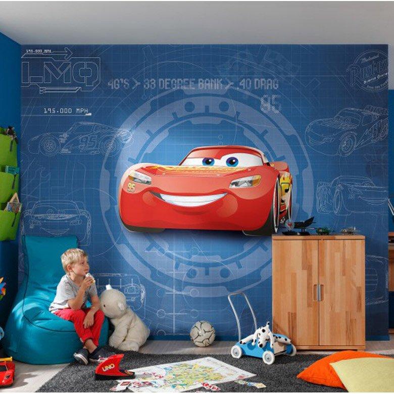 Photo Murale Cars3 Blueprint Multicolore Papier Komar L 368 X H 254 Cm