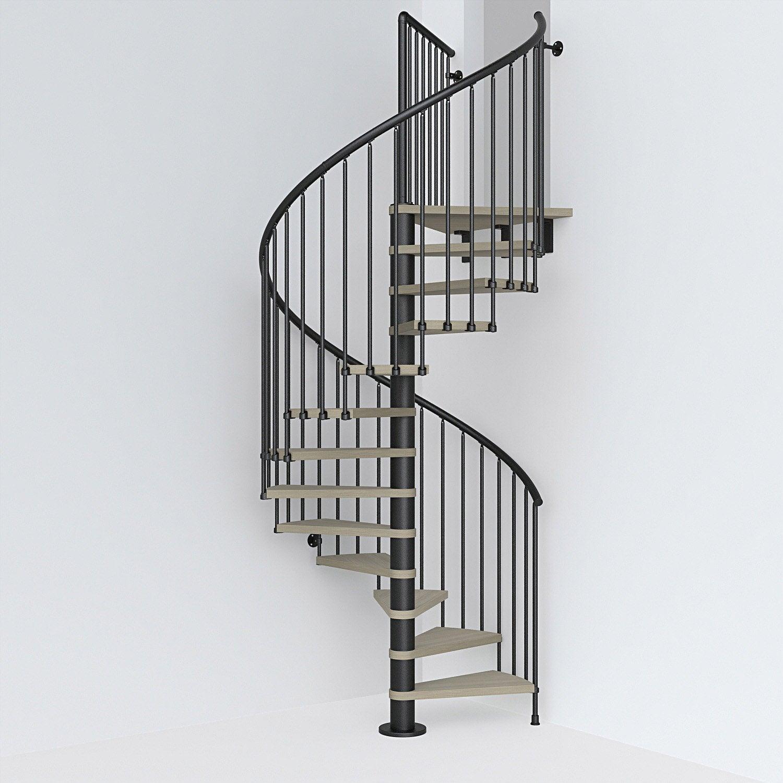 Barriere Escalier En Colimaçon escalier colimaçon rond révers. acier noir ring 12 marches orme clair, ⌀138  cm