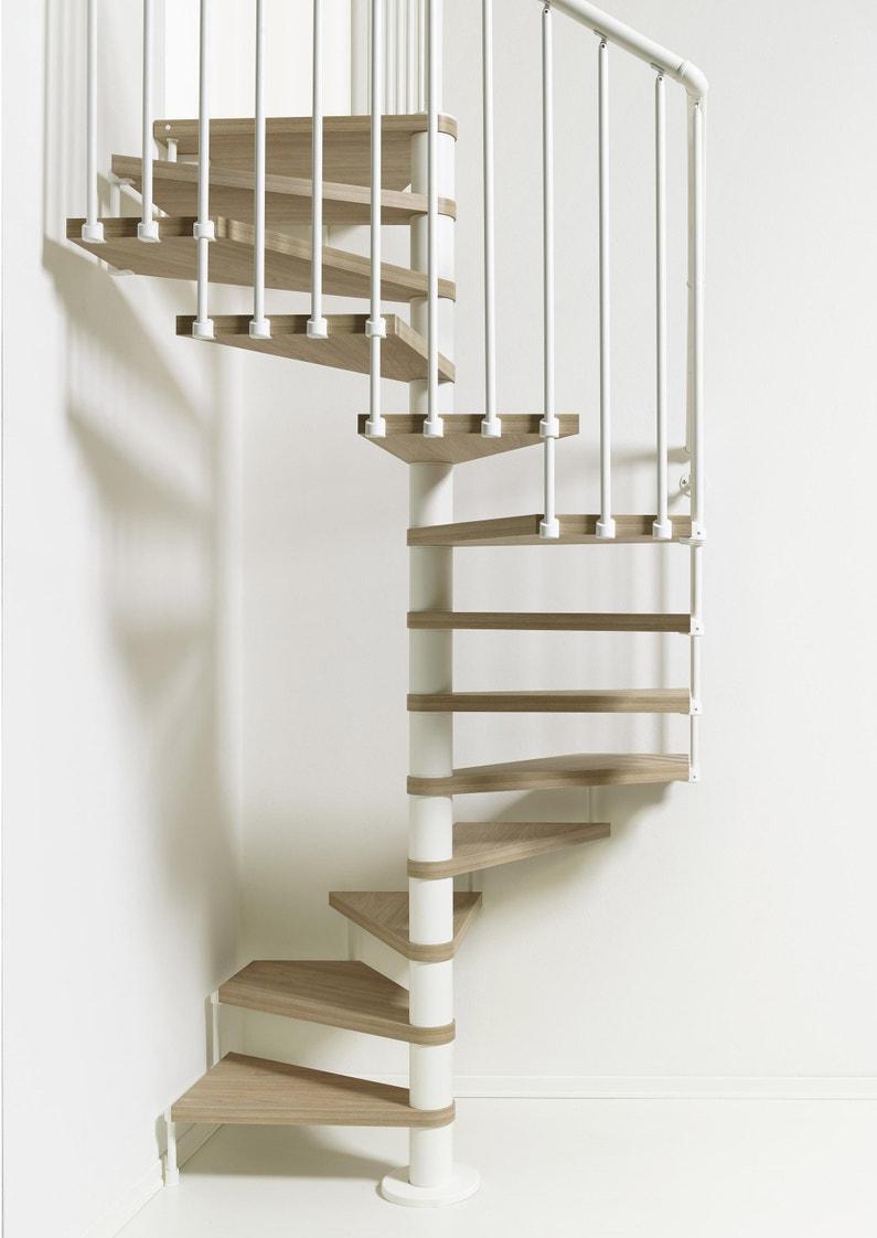Barriere Escalier En Colimaçon escalier colimaçon carré révers. acier blanc cube 12 marches orme clair,  ⌀138 cm