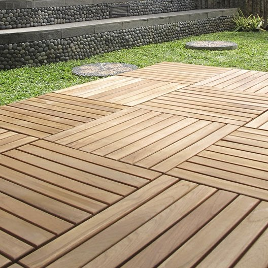 Dalle clipsables en teck marron naturel miel l 40 x l 40 cm x ep 25 mm - Dalle terrasse composite leroy merlin ...
