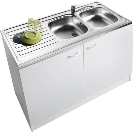 Meuble de cuisine sous-évier 2 portes, blanc, h86x l120x p60cm ...
