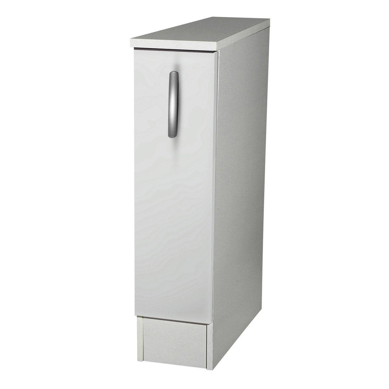 Meuble de cuisine bas 1 porte blanc h86x l15x p60cm for Meuble 30 cm largeur