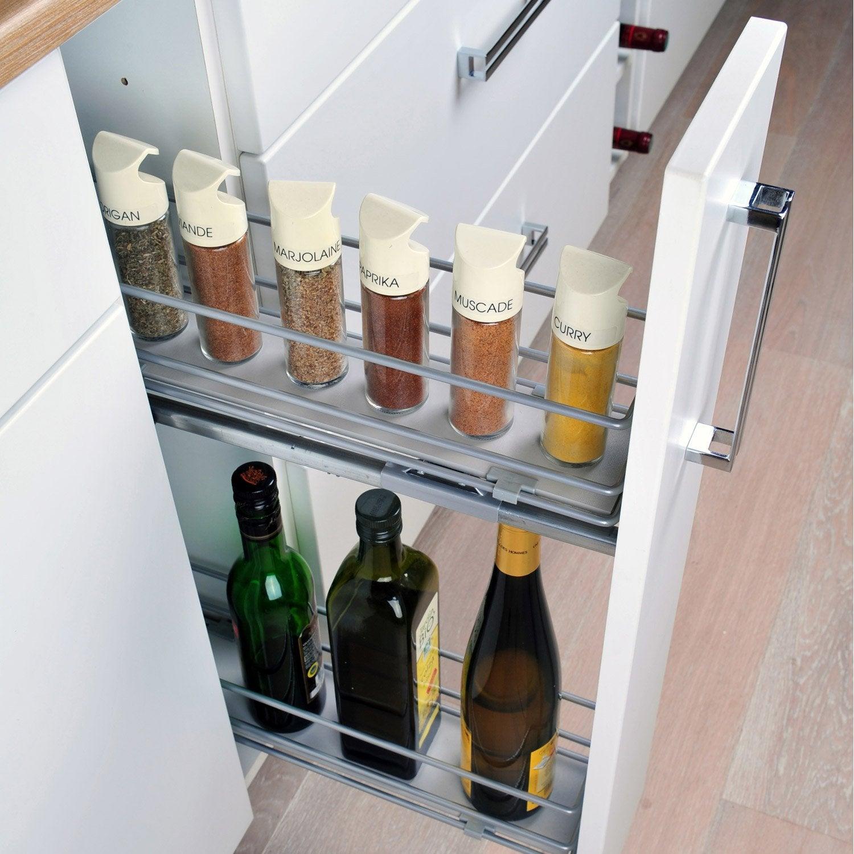 rangement coulissant epices et bouteilles pour meuble cm delinia leroy merlin. Black Bedroom Furniture Sets. Home Design Ideas