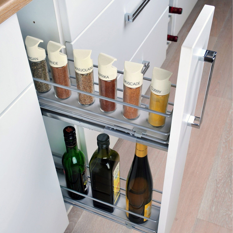 Rangement coulissant epices et bouteilles pour meuble l.15 cm, DELINIA f99ef8635955