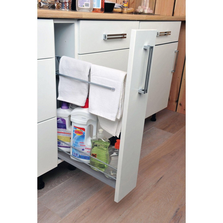 Rangement coulissant torchons et bouteilles pour meuble l for Amenagement interieur pour meuble de cuisine