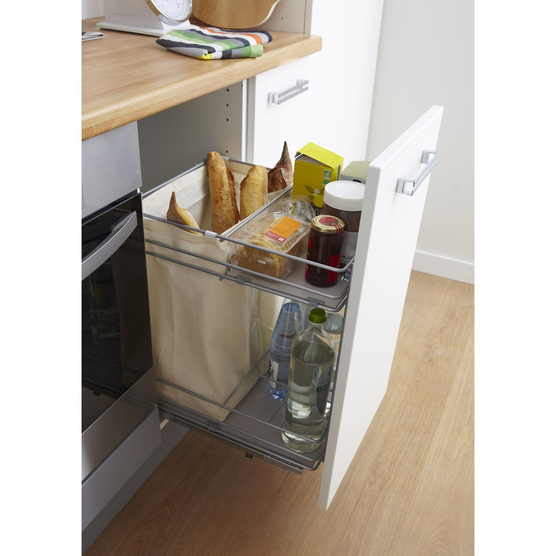 Rangement coulissant pain et bouteilles pour meuble cm delinia leroy merlin - Rangement interieur meuble cuisine ...