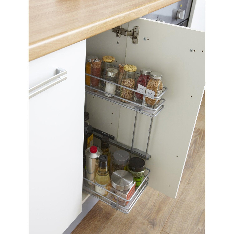 Rangement coulissant 2 paniers lat raux pour meuble - Paniers coulissants pour meubles cuisine ...