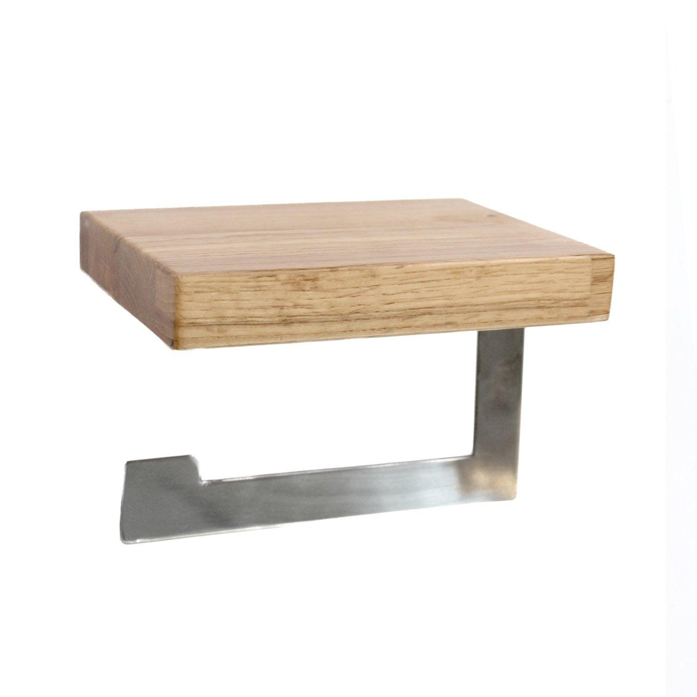 Dérouleur papier toilette bois / métal sans couvercle oslo