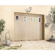 Porte de garage coulissante avec hublot PRIMO, sapin, 200 x 240cm