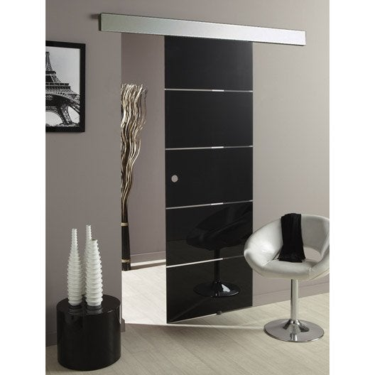 ensemble porte coulissante miami verre avec le rail twistal 2 en aluminium leroy merlin. Black Bedroom Furniture Sets. Home Design Ideas