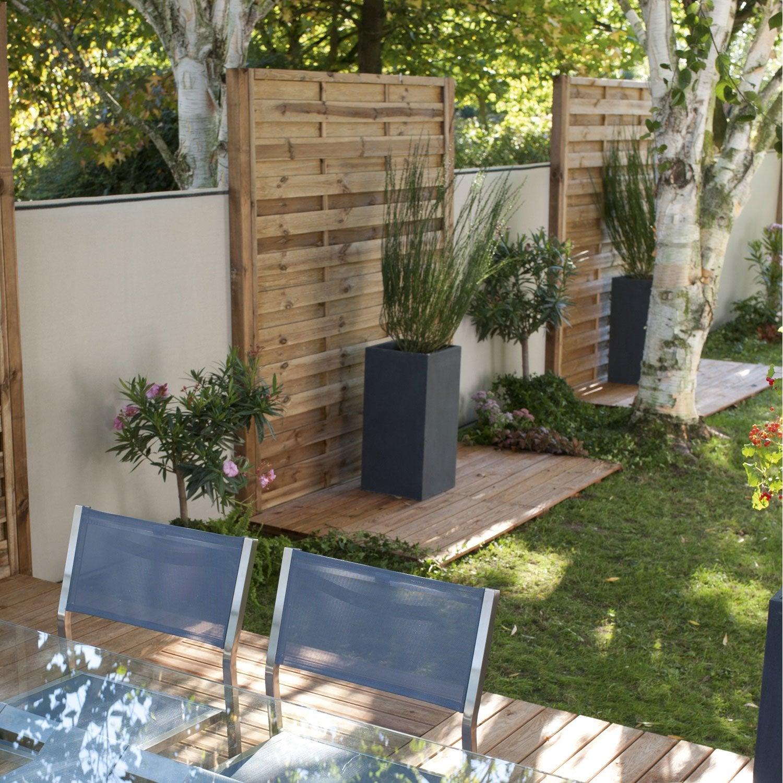 Panneau en bois droit occultant, L 90 x H 200 cm, marron Leroy Merlin # Panneau Bois Occultant Point P