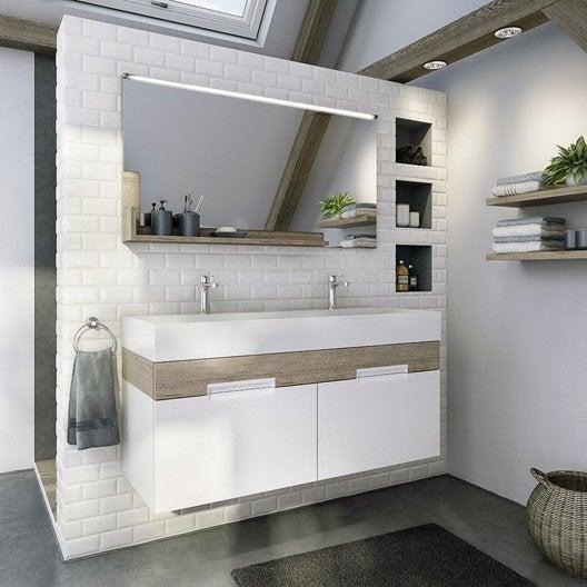 Meuble de salle de bains plus de 120 gris argent eden - Tablette salle de bain leroy merlin ...